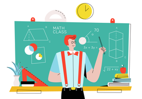 Männlicher Sonderling, der Mathe vor Klassen-Vektor-flacher Illustration unterrichtet
