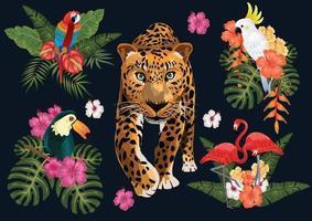 tropische Paradieselemente isoliert. Blätter, Früchte und Vögel. vektor