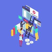 Geschäftsführungs-Teamwork mit isometrischer Art-Vektor-Illustration