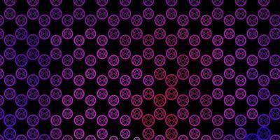 dunkelviolette, rosa Vektorschablone mit esoterischen Zeichen. vektor