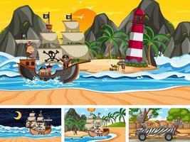 Reihe von verschiedenen Szenen mit Piratenschiff am Meer und Tieren im Zoo vektor