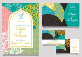 Bröllopsinbjudan med islamisk stil vektor