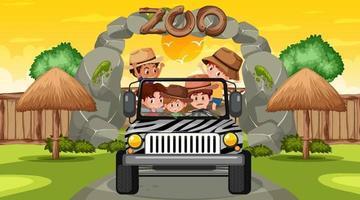 zoo vid solnedgången tid scen med många barn i en jeep bil vektor