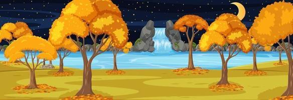Park in der Herbstsaison horizontale Szene in der Nacht vektor