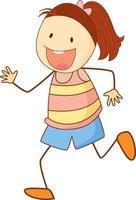 niedliches Mädchen Zeichentrickfigur im Gekritzelstil isoliert vektor