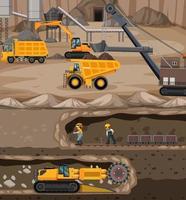 Landschaft des Kohlebergbaus mit unterirdischer Szene vektor