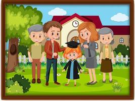lyckligt familjefoto i en ram vektor