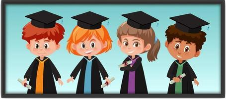 många barn i examensdräkt i fotoram vektor