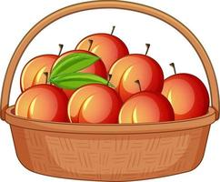viele Pfirsiche im hölzernen Korb lokalisiert auf weißem Hintergrund vektor