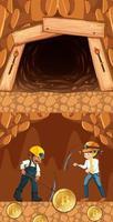 Bitcoin-Bergbau mit zwei Bergarbeitern im Untergrund vektor