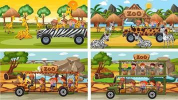 Satz von verschiedenen Safari-Szenen mit Tier- und Kinderzeichentrickfigur vektor