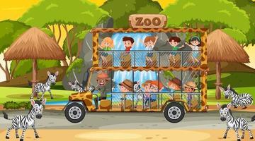 Safari bei Sonnenuntergang Zeitszene mit Kindern, die Zebragruppe beobachten vektor