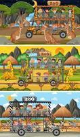 uppsättning olika safari horisontella scener med djur och barn seriefigur vektor