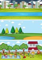 Satz verschiedene horizontale Szenen Hintergrund mit Gekritzel Kinder Zeichentrickfigur vektor