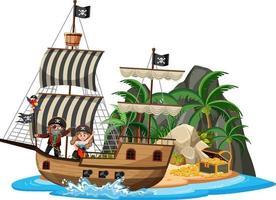piratskepp på ön med många barn isolerad på vit bakgrund vektor