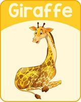 pädagogische englische Wortkarte der Giraffe vektor