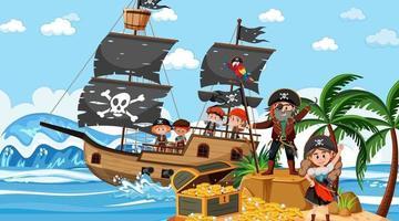 Schatzinselszene tagsüber mit Piratenkindern vektor