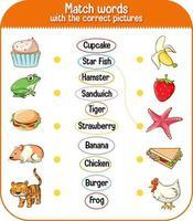 Ordnen Sie Wörter dem richtigen Bildspiel für Kinder zu vektor