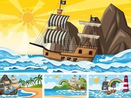 uppsättning havsscener vid olika tidpunkter med piratskepp i tecknad stil vektor