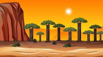 afrikanische Savannenwaldlandschaftsszene zur Sonnenuntergangszeit vektor
