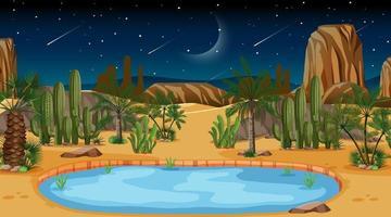 Wüstenwaldlandschaft bei Nachtszene mit Oase vektor