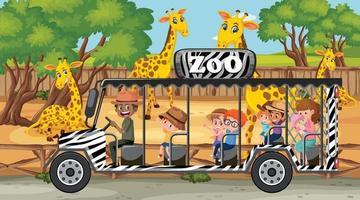safari scen med många giraffer och barn på turistbil vektor