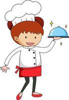 kleiner Koch, der Essen-Zeichentrickfigur serviert vektor