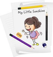 Skizze kleine Kinder Zeichentrickfigur auf Papier isoliert vektor