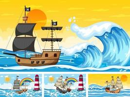 Satz Ozean mit Piratenschiff zu verschiedenen Zeiten Szenen im Cartoon-Stil vektor