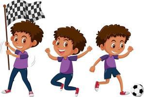 Satz einer Jungenzeichentrickfigur, die verschiedene Aktivitäten ausführt vektor