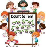 Zählen Sie bis zehn Nummernbretter mit vielen Kindern, die verschiedene Aktivitäten ausführen vektor