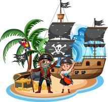 Piratenschiff auf der Insel mit vielen Kindern lokalisiert auf weißem Hintergrund vektor