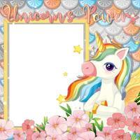 leeres Banner mit schöner Pegasus-Zeichentrickfigur vektor
