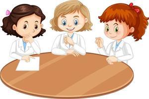 tre forskare flickor seriefigur med tomt bord vektor