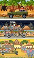 Satz von verschiedenen horizontalen Safari-Szenen mit Tier- und Kinderzeichentrickfigur vektor