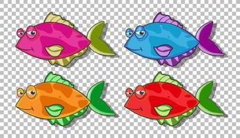 Satz von vielen lustigen Fischen Zeichentrickfigur lokalisiert auf transparentem Hintergrund vektor