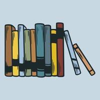 Bücher, die auf dem handgezeichneten Gestaltungselement des Regals stehen. Weltbuchtag. Stapel verschiedener populärer bunter Bücher. pädagogische Vektorillustrationen lokalisiert in der Weinlesegravur-Skizze vektor