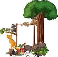 leeres Banner mit wilden Tieren und Regenwaldbäumen auf weißem Hintergrund vektor