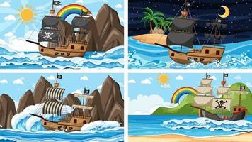 Satz von Ozeanszenen zu verschiedenen Zeiten mit Piratenschiff im Cartoon-Stil vektor