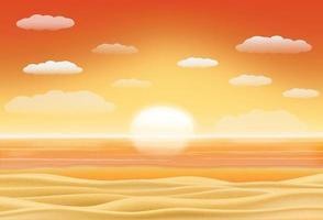 vacker solnedgång strand scen vektor