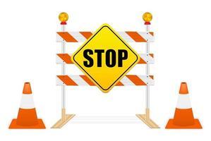 Stoppschild auf Straßensperrvektor vektor
