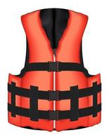 echte orange Schwimmweste Jacke Vektor auf einem weißen Hintergrund