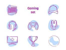 Videospiel - Liniensymbole eingestellt. moderne Umrissdesignkollektion des Spielers mit Akzentfarbfleck. Joystick, Tastatur, Teamkappe, Tasse, Gamepad, Kopfhörer, Maus, Monitor, leeres Symbol. isolierter weißer Vektor