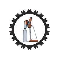 Stehbohr- und Schneidemaschinendesign vektor