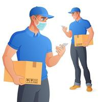 Lieferbote in der Maske, die Box hält und Smartphone prüft. volle Größe unter Schnittmaske. Vektorillustration lokalisiert auf weißem Hintergrund.