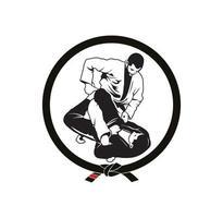 Jiu Jitsu Jujitsu Verriegelungsposition Charakter Design vektor