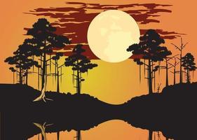 Bayou Sumpf Thema Landschaft Kopf Design Illustration vektor