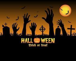 halloween zombies hand i en kyrkogård vektor