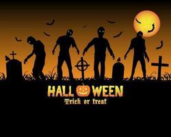 halloween zombies på en kyrkogård vektor
