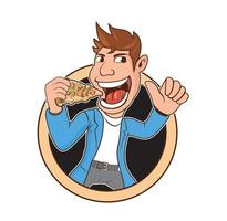 Mann Cartoon Essen Peperoni Pizza Design vektor